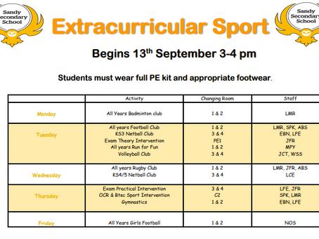Extra Curricular Sport - Autumn Term 2021-2022