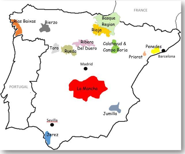 Wine Cider And Brandy Regions In Spain
