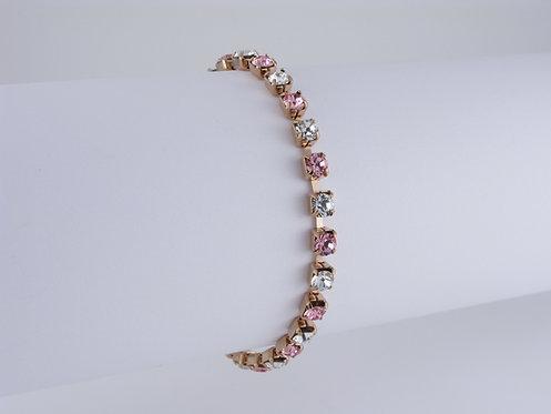 Crystal & Light Rose Rhinestone Bracelet
