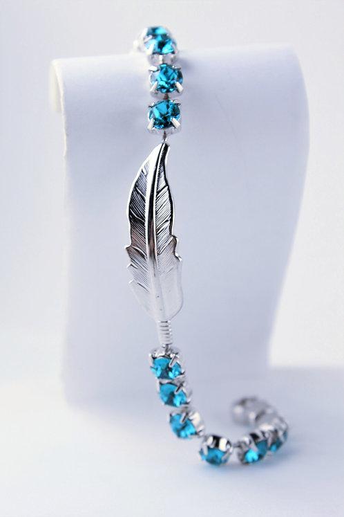 Feather Rhinestone Bracelet