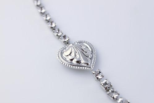 Embellished Heart Rhinestone Bracelet