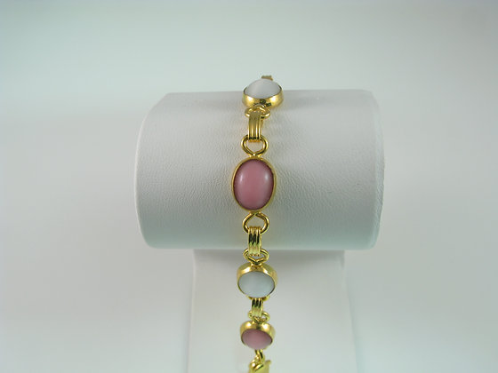 Pink and white Cabochon Bracelet