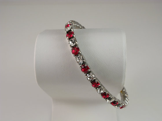 Ruby and Crystal Stretch Bracelet