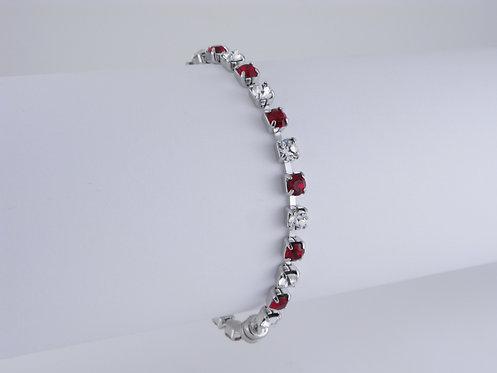 Crystal & Siam Rhinestone Bracelet