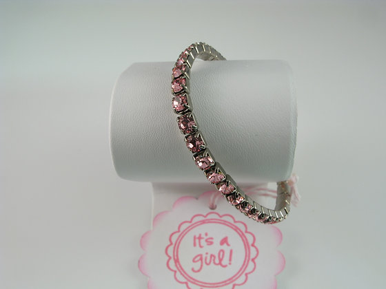It's a Girl Pink Crystal Bracelet