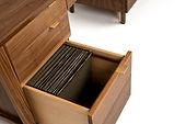 Custom filing drawers for black walnut desk. Unique design for organizing file folders