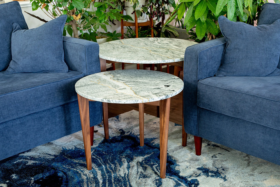 Custom made Granite and black walnut end tables with gold leaf inlay