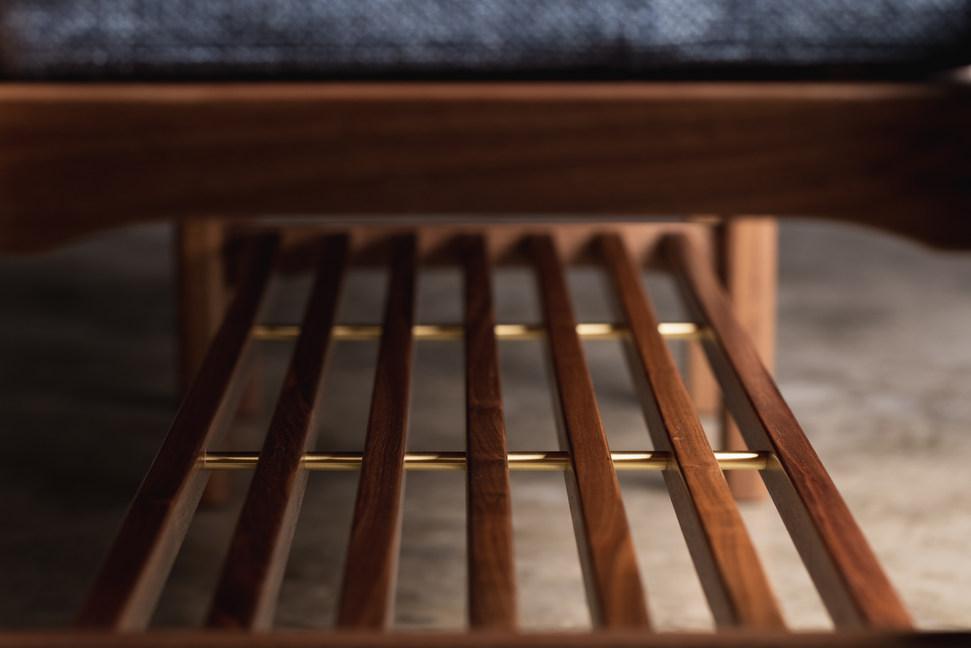 Black walnut entry bench with shoe storage