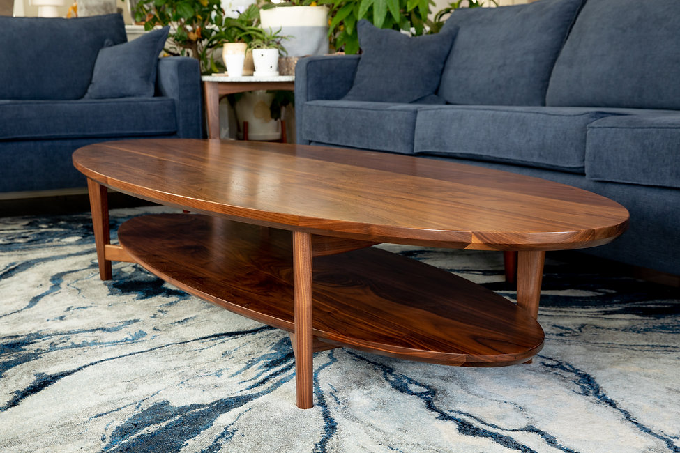 custom designed and made black walnut coffee table