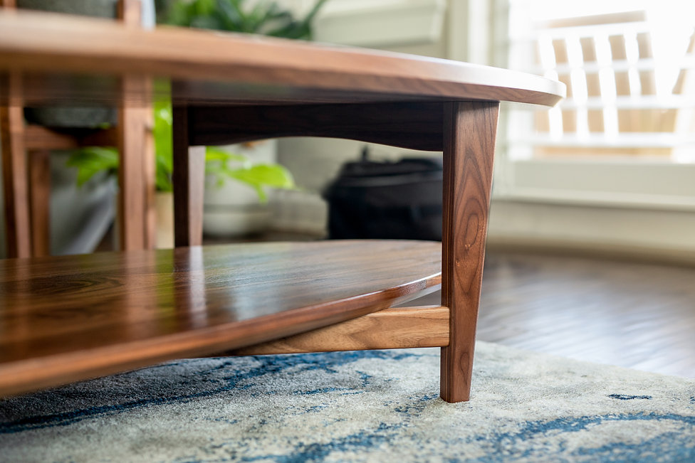 custom made mid century modern black walnut coffee table