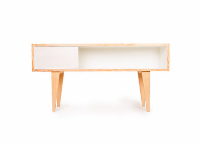 Modern media console or credenza that is perfect for th modern condo home.