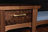 Custom Black Walnut entry bench with drawer and side table