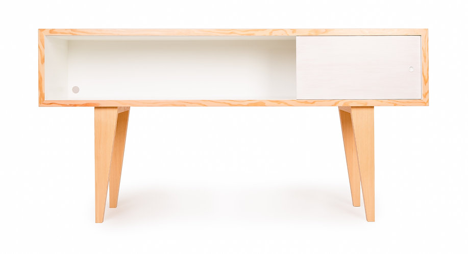Modern media console, hand made in vancouver b.c.