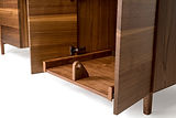 Custom made black walnut pull out for computer towers. Designed for easy access to PC Gaming towers