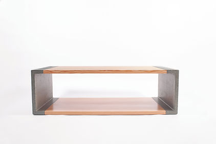 Modern concrete and wood coffee table, a perfect fit for the contemporary home or condo.