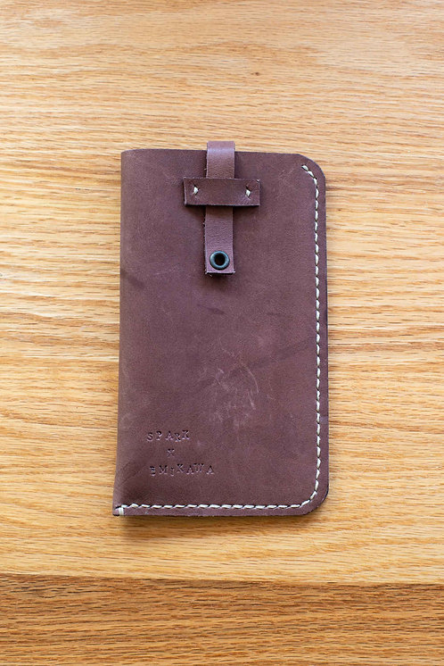 Brown Genuine leather case by SPARK x EMIKAWA