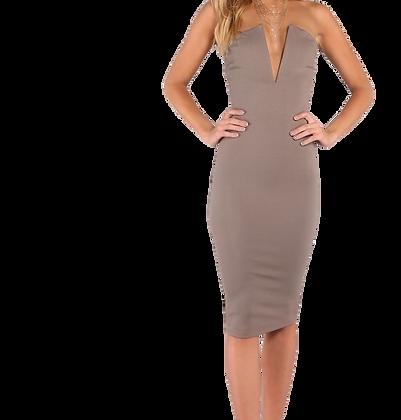 V Cut Midi Dress