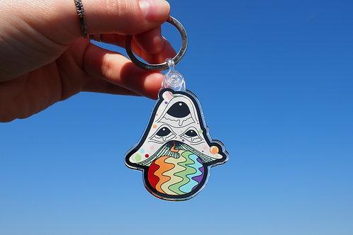 Rainbow Mushroom Keychain