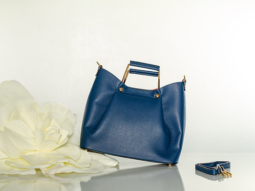 Blue Italian leather tote handbag