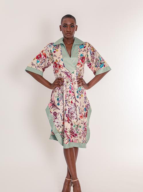 "Satin ""Floral"" kimono dress"