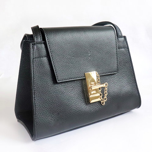 "Italian Leather ""Lana"" handbag in black"