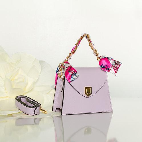 "Italian leather lavander mini ""Lulu""handbag"