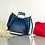 Thumbnail: Blue Italian leather tote handbag