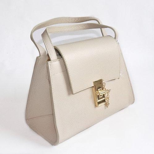 "Italian Leather ""Lana"" handbag beige"