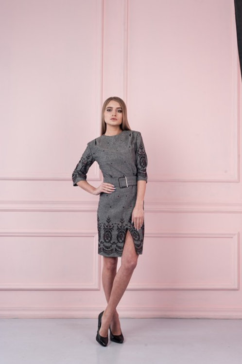 Embroidered Wool Blend Dress