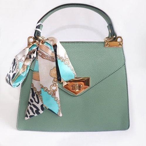 "Italian Leather ""Misty Green"" handbag"