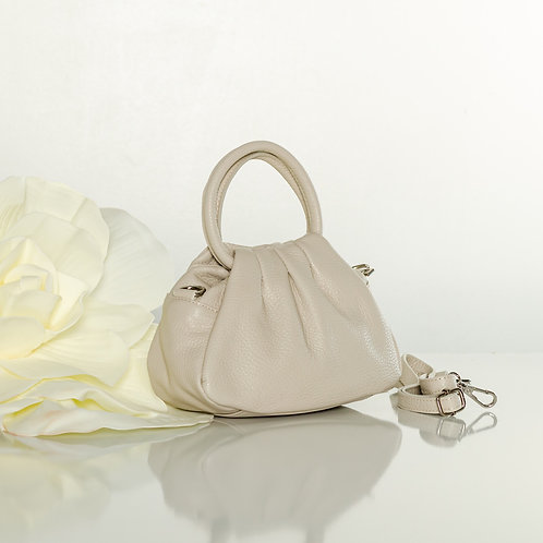 "Italian leather ""mini"" bag in beige"