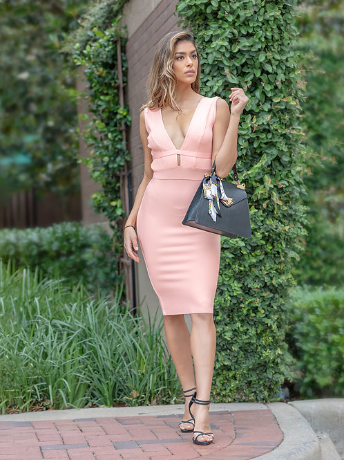 """J'adore"" Bandage dress in Coral"