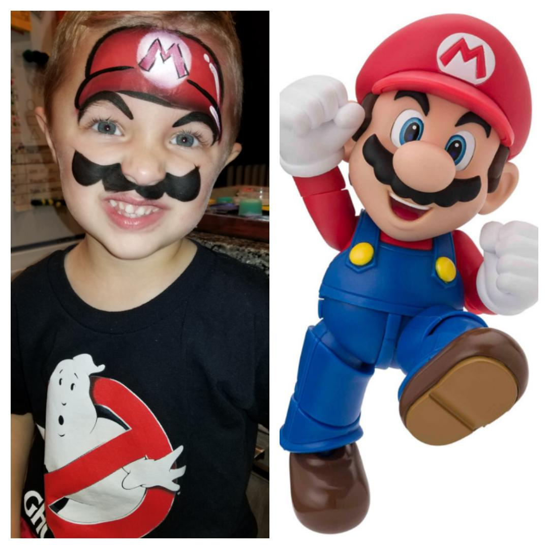 Mario Bros. face paint by Holly
