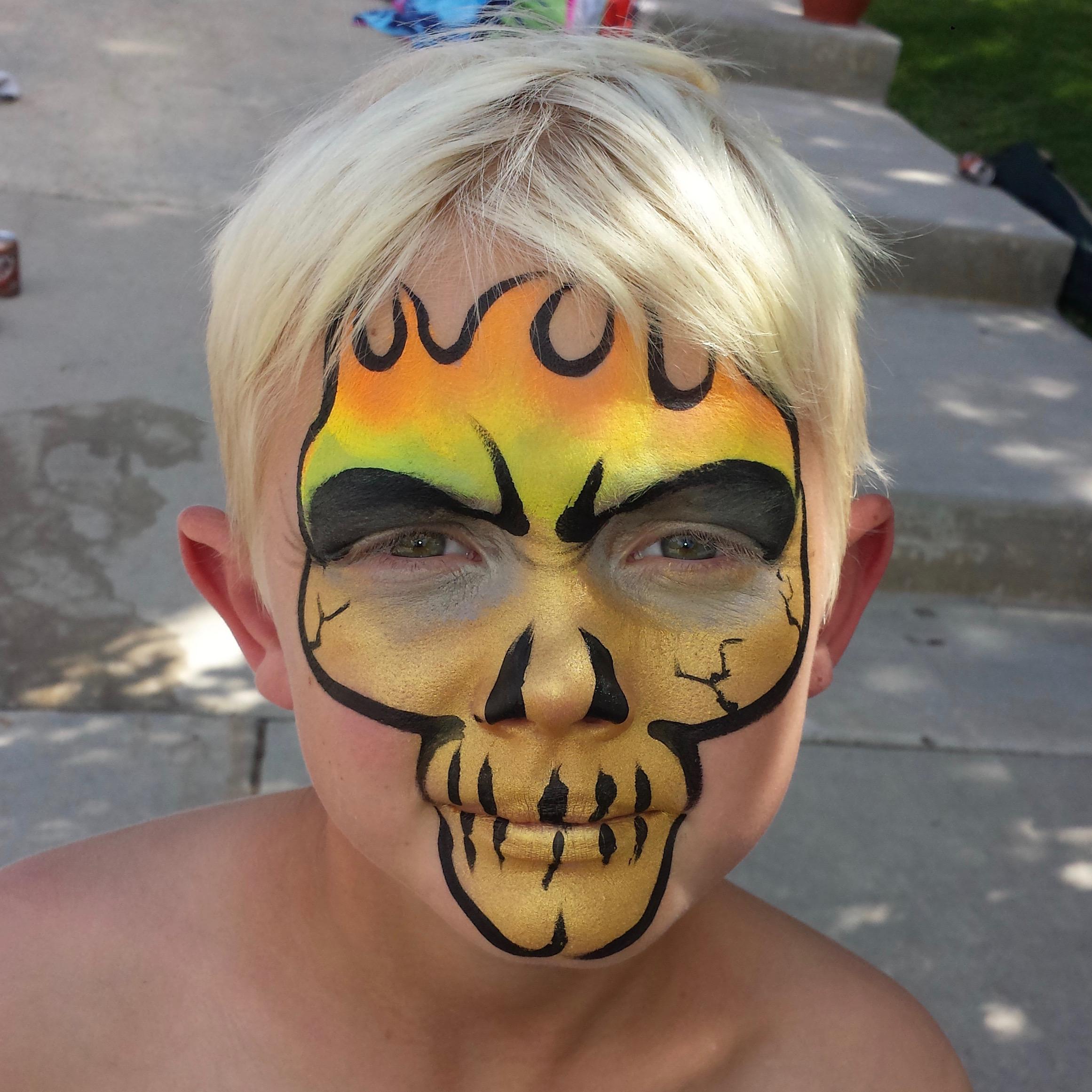 Neon flaming skull