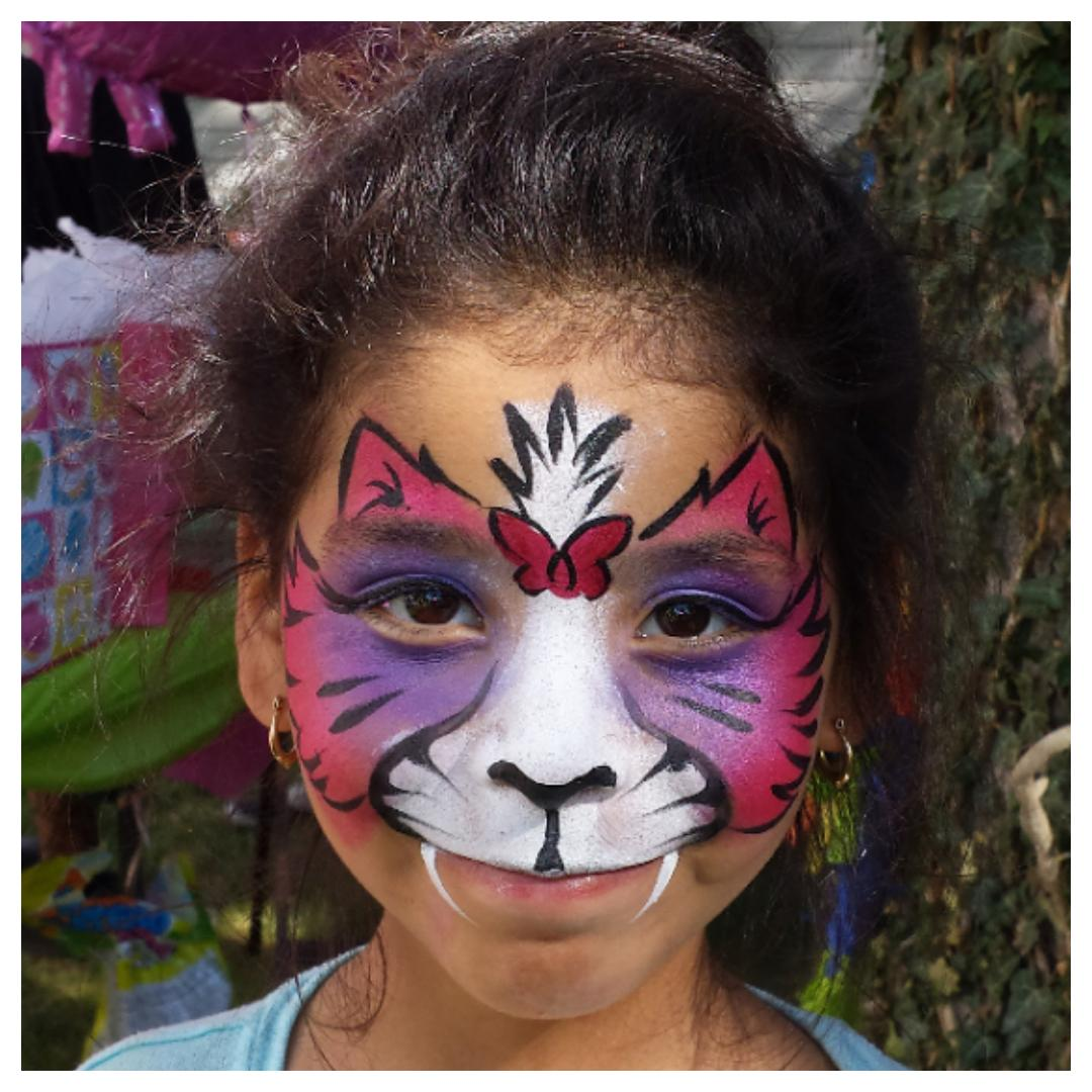 Colorful Kitty Cat face paint
