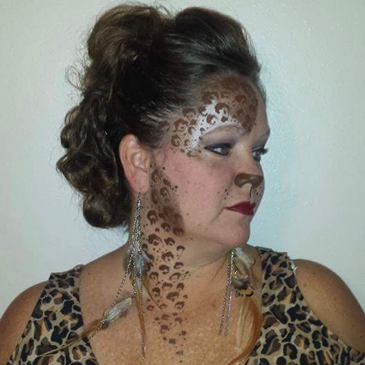 Leopard face paint and makeup