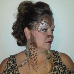Leopard face paint and makeup