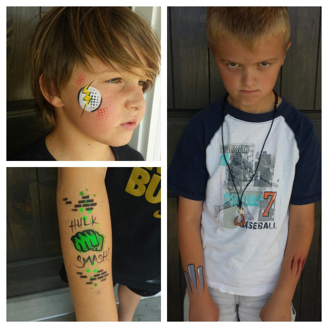 Super hero logo face & arm paint