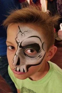 Quarter face skeleton face paint