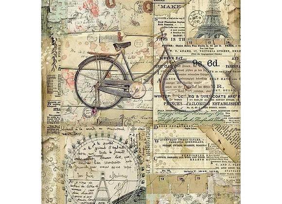 STAMPERIA - Rice Paper - Vintage Bicycle
