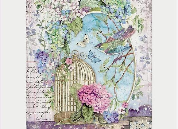 STAMPERIA - Rice Paper - Hortensia Cage