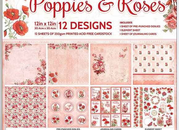LITTLE BIRDIE - Paper Pad - Poppies and Roses