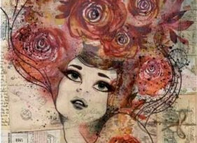 STAMPERIA - Rice Paper - Red Rose Lady