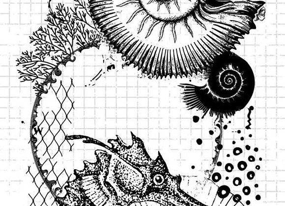 STUDIO LIGHT - Grunge Stamps - Seahorse