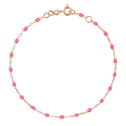 GIGI CLOZEAU - BRACELET OR ROSE 15CM PERLES RESINE - ROSE FLUO
