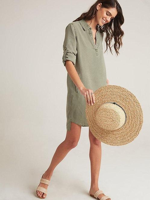 BELLA DAHL -  LONG SLEVES A-LINE DRESS - Kaki
