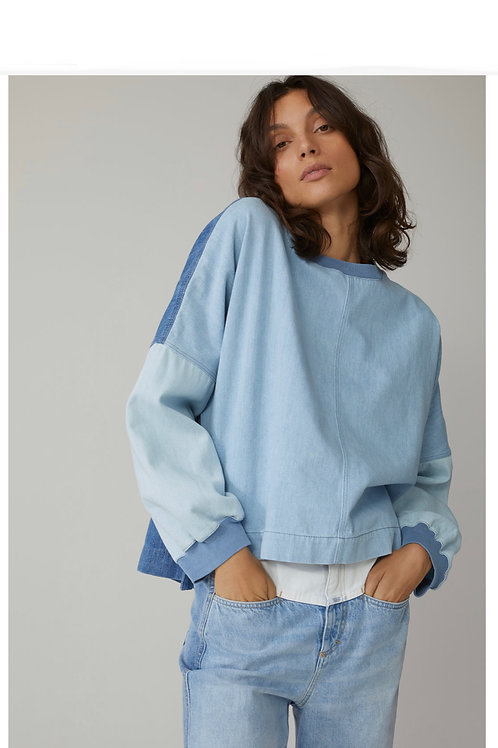 CLOSED - SWEAT JUMPER PATCHWORK DENIM