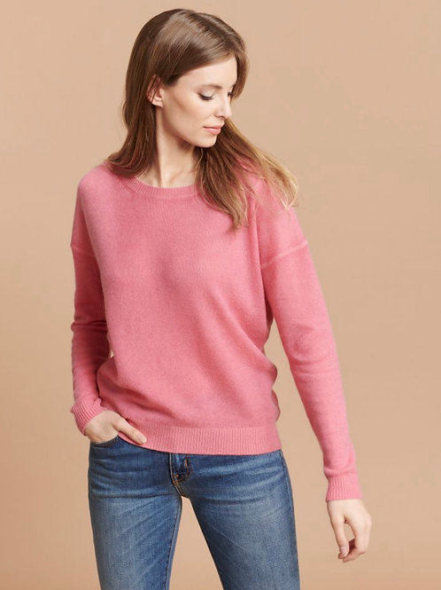 MAJESTIC - PULL COL ROND FORME BOXY ROSE