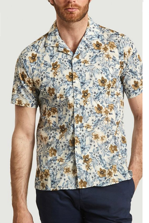 HARTFORD - CHEMISE SLAM - BLUE&BEIGE TROPICAL FLOWERS