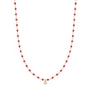 GIGI CLOZEAU - COLLIER OR ROSE 40CM PERLES RESINE MINI GIGI DIAMANT